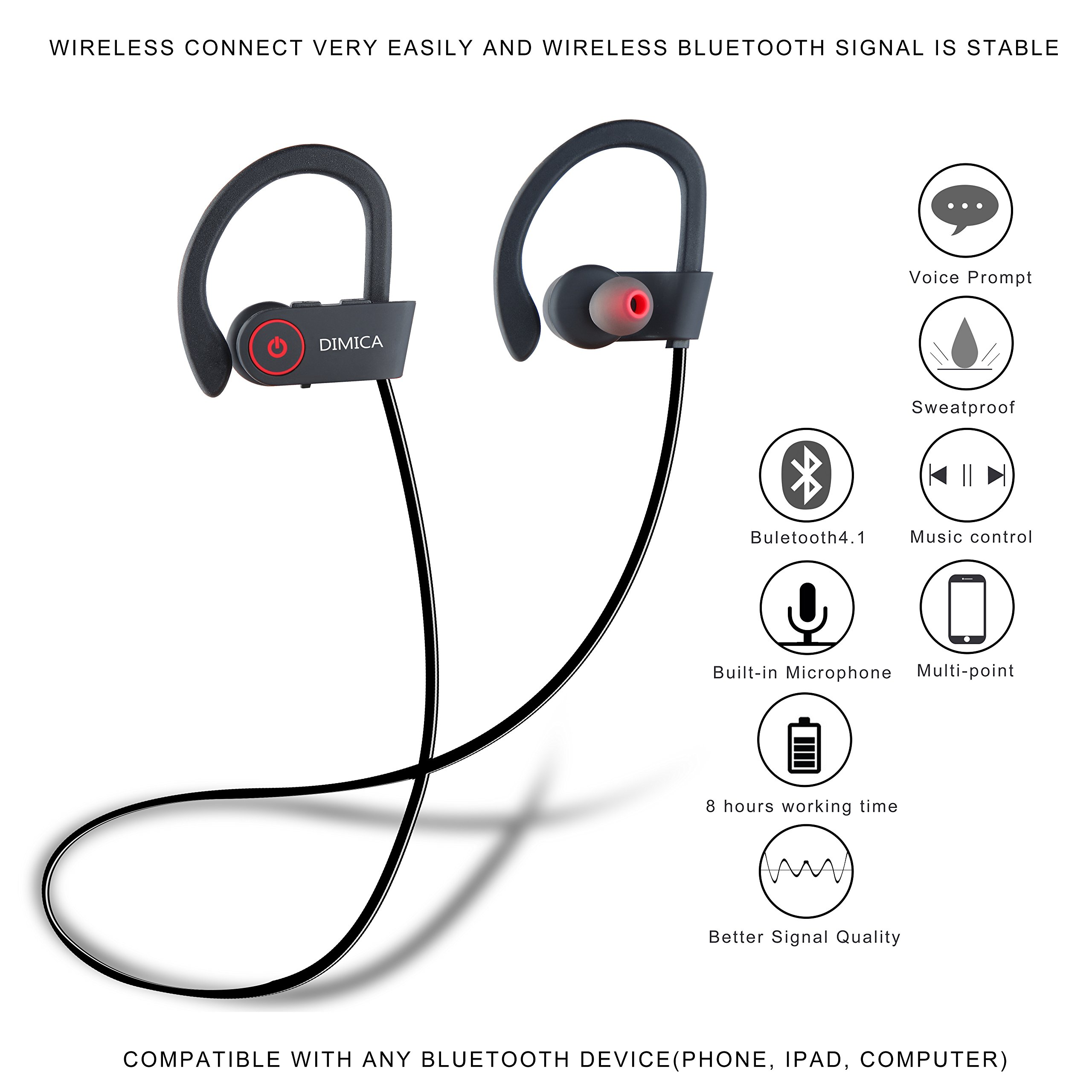 Stereo Earbuds with Bass, Wireless Bluetooth Headphones with Mic Noise Cancelling Headphone with Battery Portable Bluetooth Headset Durable Sweatproof Sports Outdoor Earphones for Men Women (Black-8)