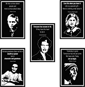 "Inspirational Women Posters Set for Classroom Teachers Students Home Office | Set of 5 | 11.7""x16.5"" 