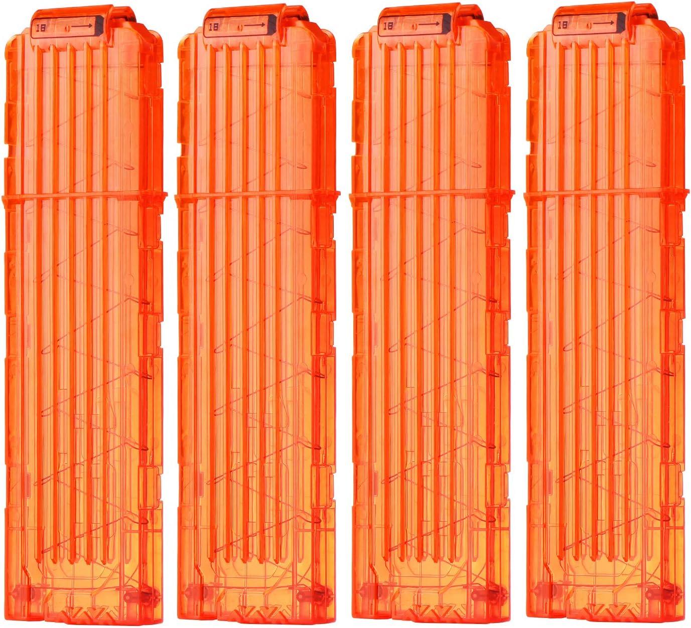 FUCAS Soft Bullet 4pcs Clips 18 Bullets Dart Gun Clips Magazine Clip for Nerf Toy Dart Gun