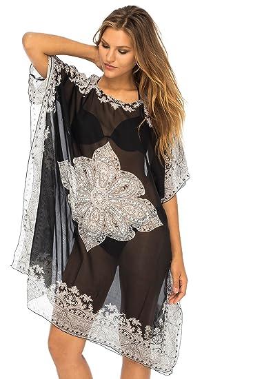 cf3f80d266 Back From Bali Womens Sheer Black Beach Mandala Cover Up Dress for Bikini  Swimsuit Sequins Silver
