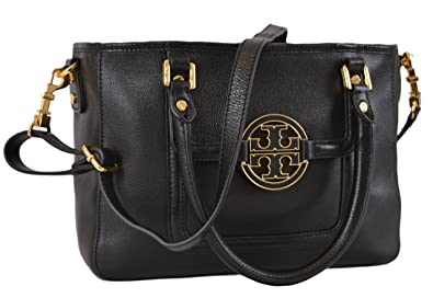 e01d4d341 Tory Burch Women's Black Textured Leather Amanda Mini Crossbody Satchel  Purse ...