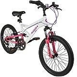 "Muddyfox Energy 20"" Girls Dual Suspension 6 Speed Mountain Bike in White and Pink"
