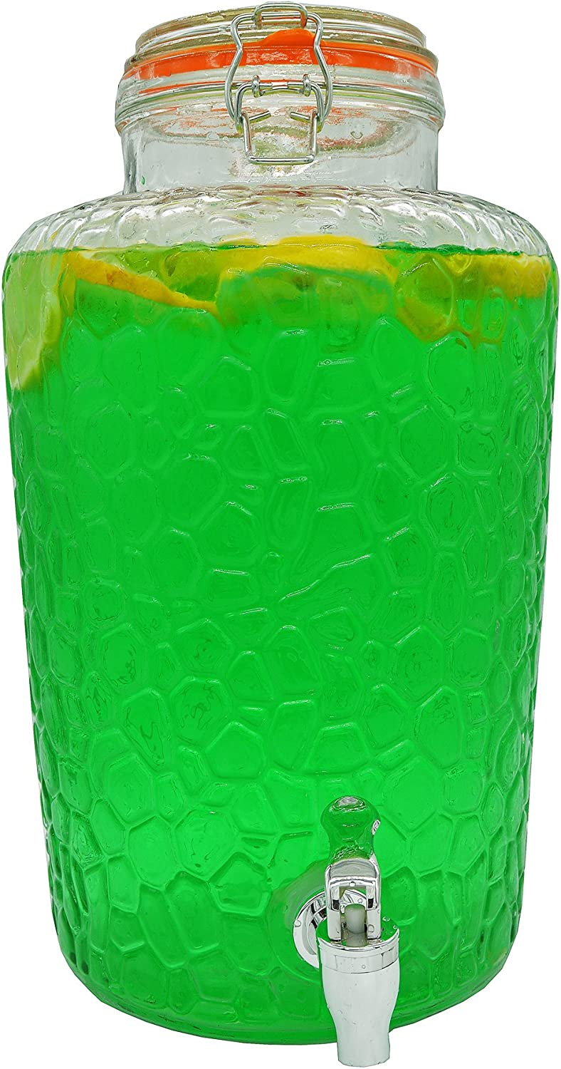 Palais Glassware Clear Glass Beverage & Drink Dispenser with Bail & Trigger Locking Lid - 2 Gallon (Island Pattern)