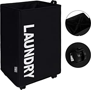 DOKEHOM X-Large Laundry Basket with Leather Handle on Wheels (4 Colors), Collapsible Fabric Laundry Hamper, Foldable Clothes Organizer, Folding Washing Bin (Black, L)