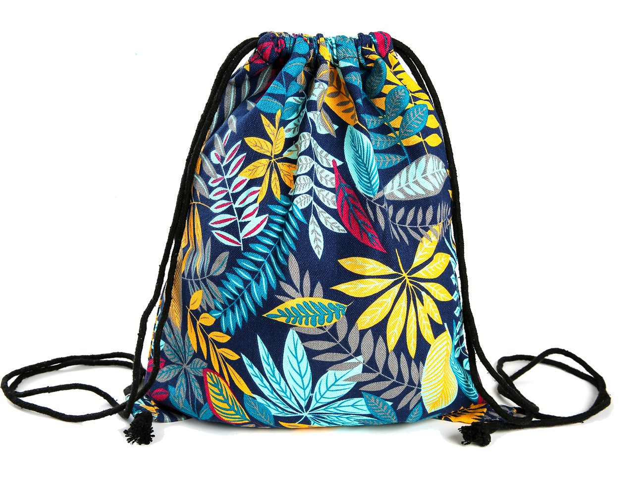 iSuperb Canvas Drawstring Backpack bag Gym Sack bag Stylish Lightweight Cute for Excursion Outdoor (Owl) 10471217