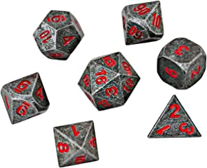 HEIMDALLR DND Dice Set 7 PCS - Metal Dungeons and Dragons Polyhedral Dice Set with D&D Dice Bag for RPG Gaming - Includes D20 - Blacksmith Craft Dice (Chaos Red)
