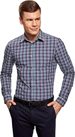 oodji Ultra Hombre Camisa Entallada a Cuadros