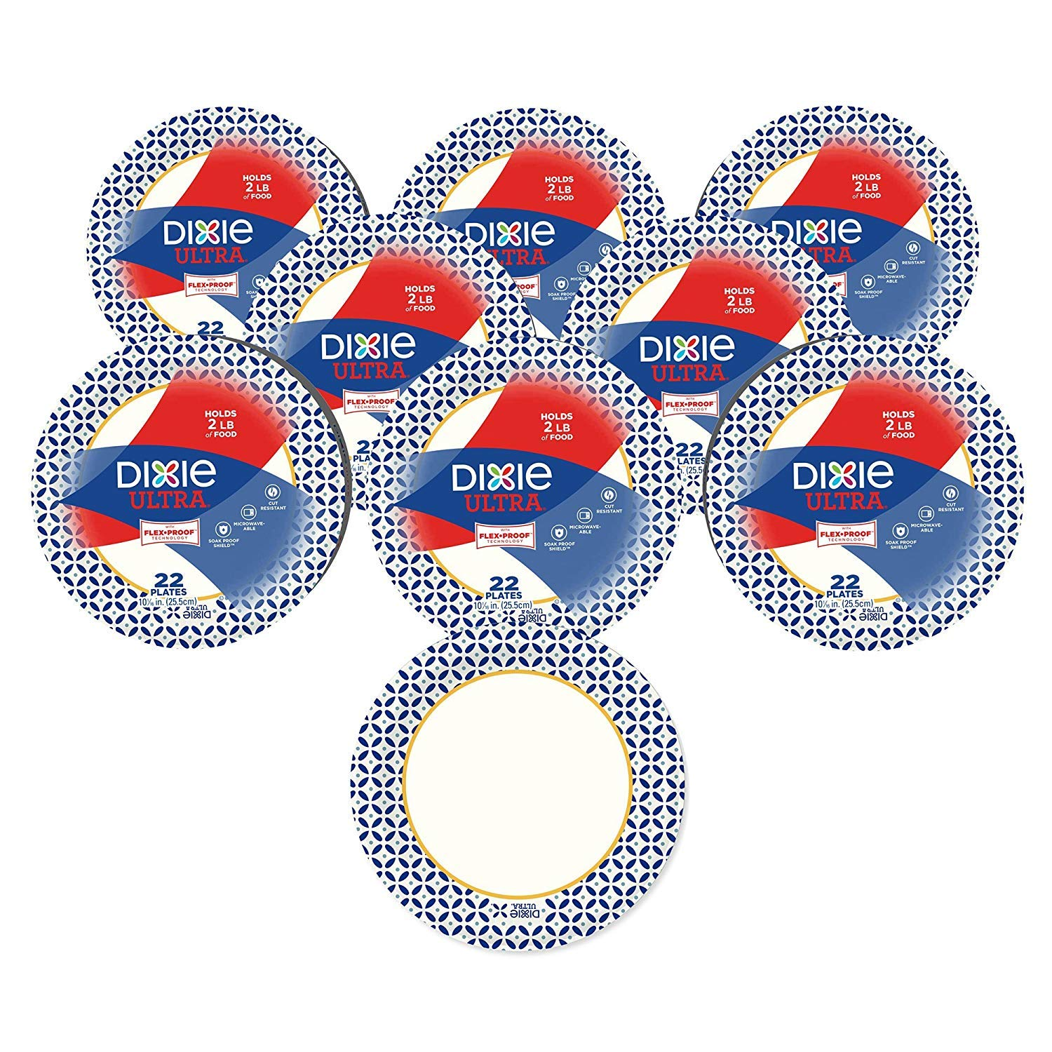 Dixie Ultra Heavy Duty Paper Plates, 10 1/16'', 176 Count, 8 Packs of 22 Plates, Dinner Size Printed Disposable Plates (4 Sets (8 Packs))