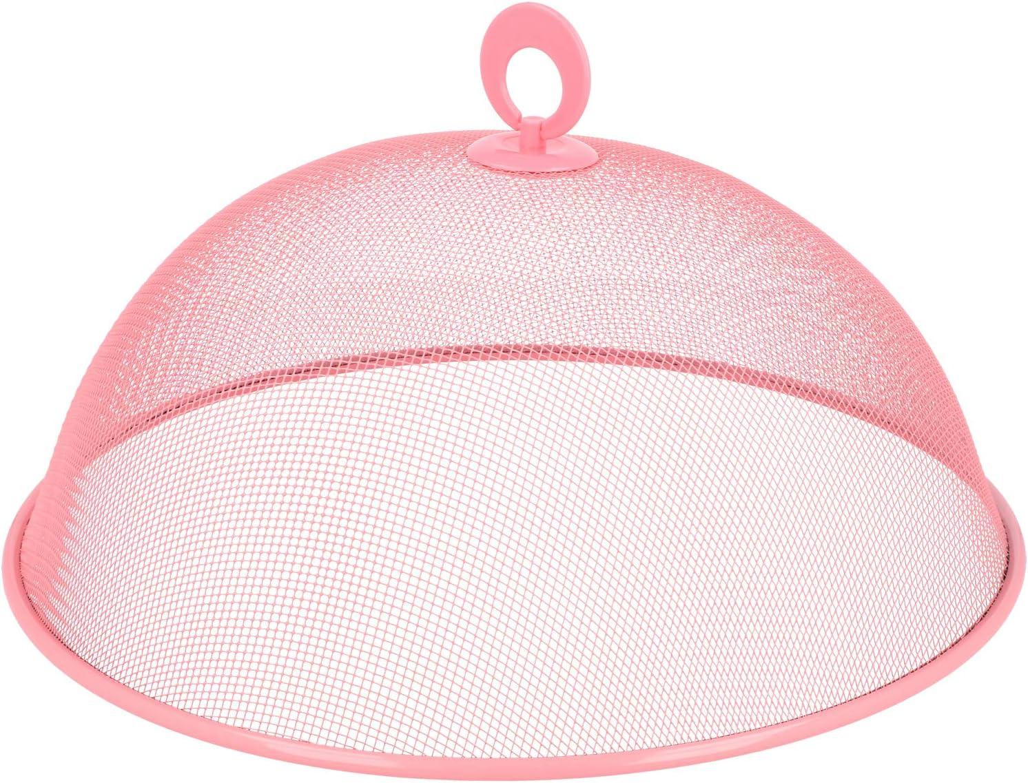 caperuza met/álica /Ø 30 cm COM-FOUR/® cubierta 2x para alimentos 02 piezas - rosa sombrilla de comedor colorida