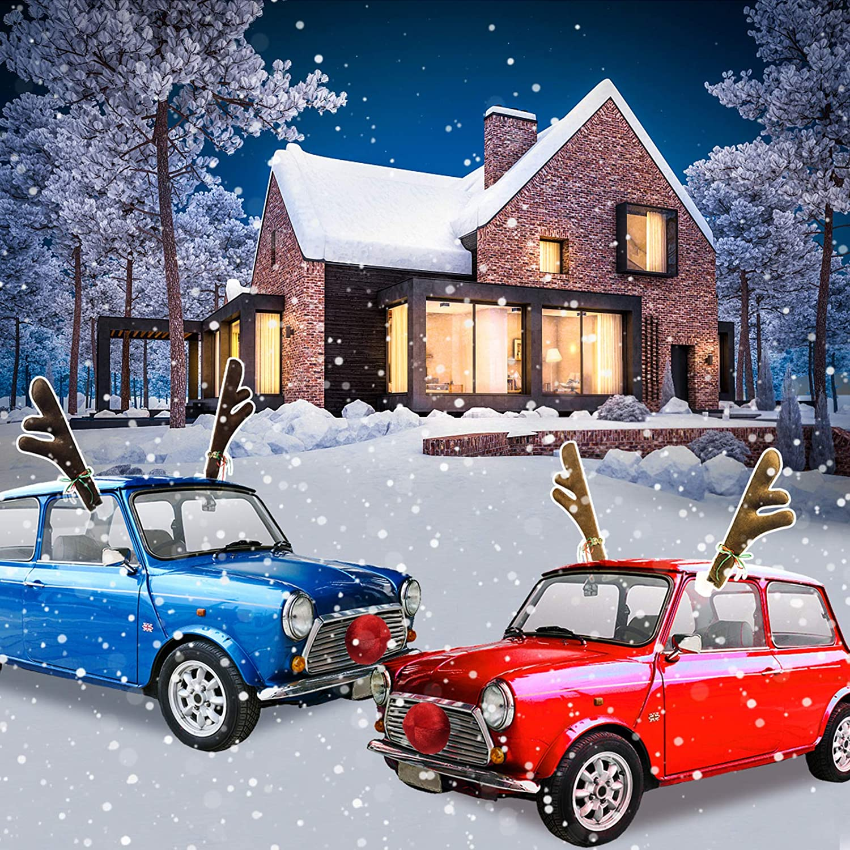 Set Of 2 Christmas Mini Car Decoration