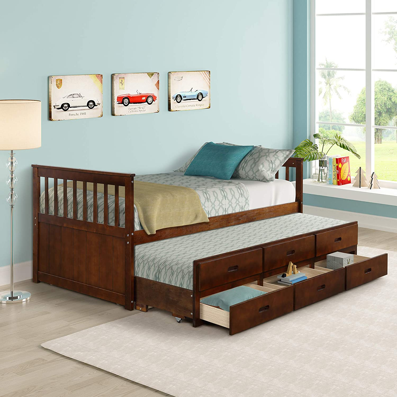Twin Captain Bed with Trundle and Drawers,3-in-oneSolid Wood Daybed,with Storage for Kids Guests for Sleepovers, Walnut