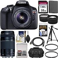 Canon EOS Rebel T6 Wi-Fi Digital SLR Camera & EF-S 18-55mm is II with 75-300mm III Lens + 32GB Card + Case + Battery + Tripod + Tele/Wide Lens Kit