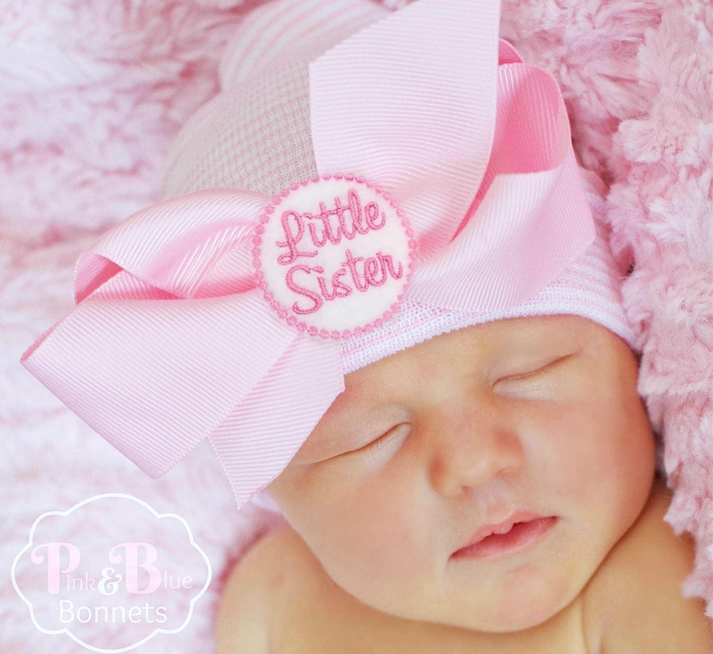 555d98399 Amazon.com  Little Sister Newborn girl beanie with bow