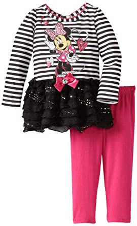 83863242ded14 Amazon.com: Disney Baby Girls' 2 Piece Striped Mickey Mouse Dress and  Legging, Black, 12 Months: Infant And Toddler Pants Clothing Sets: Clothing