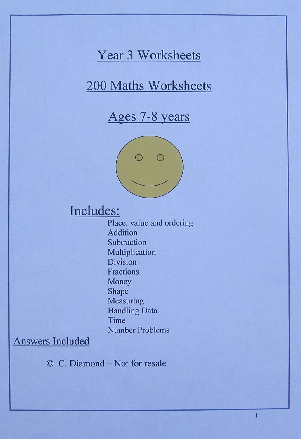 200 Year 2 Maths Worksheets KS1 pdf file to print out Amazonco – Ks1 Worksheets Maths