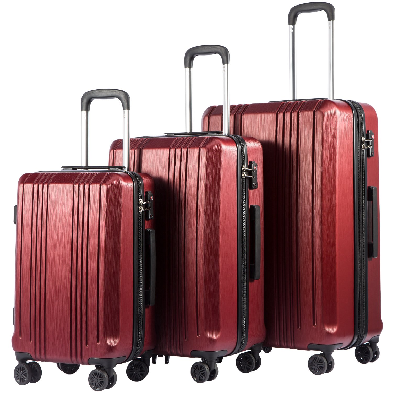 Coolife Luggage Expandable Suitcase PC+ABS with TSA Lock Spinner 20in24in28in (Wine red, 3 Piece Set) product image