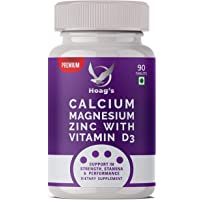 Hoag's Calcium, Magnesium, Zinc with Vitamin D3 and B12 for Men and Women, Ideal for Bone Health, Sports Recovery and…