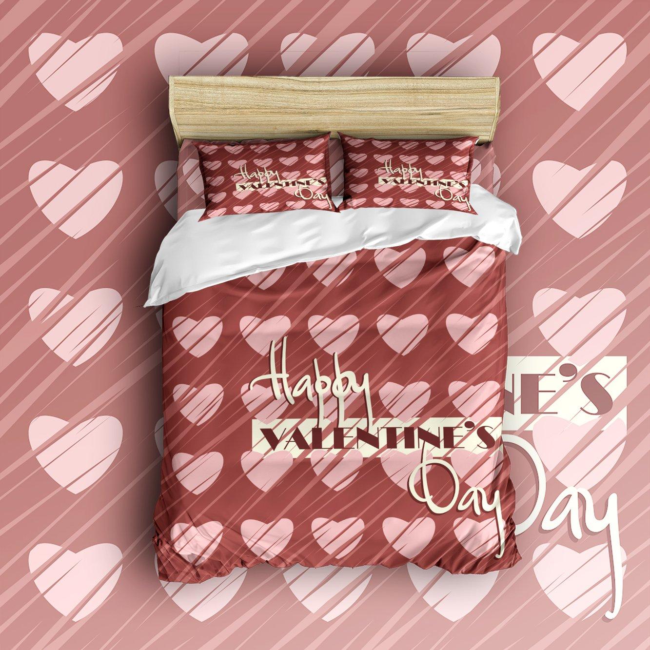 Libaoge 4 Piece Bed Sheets Set, Love Fantasy Romantic Heart Shapes Print, 1  Flat