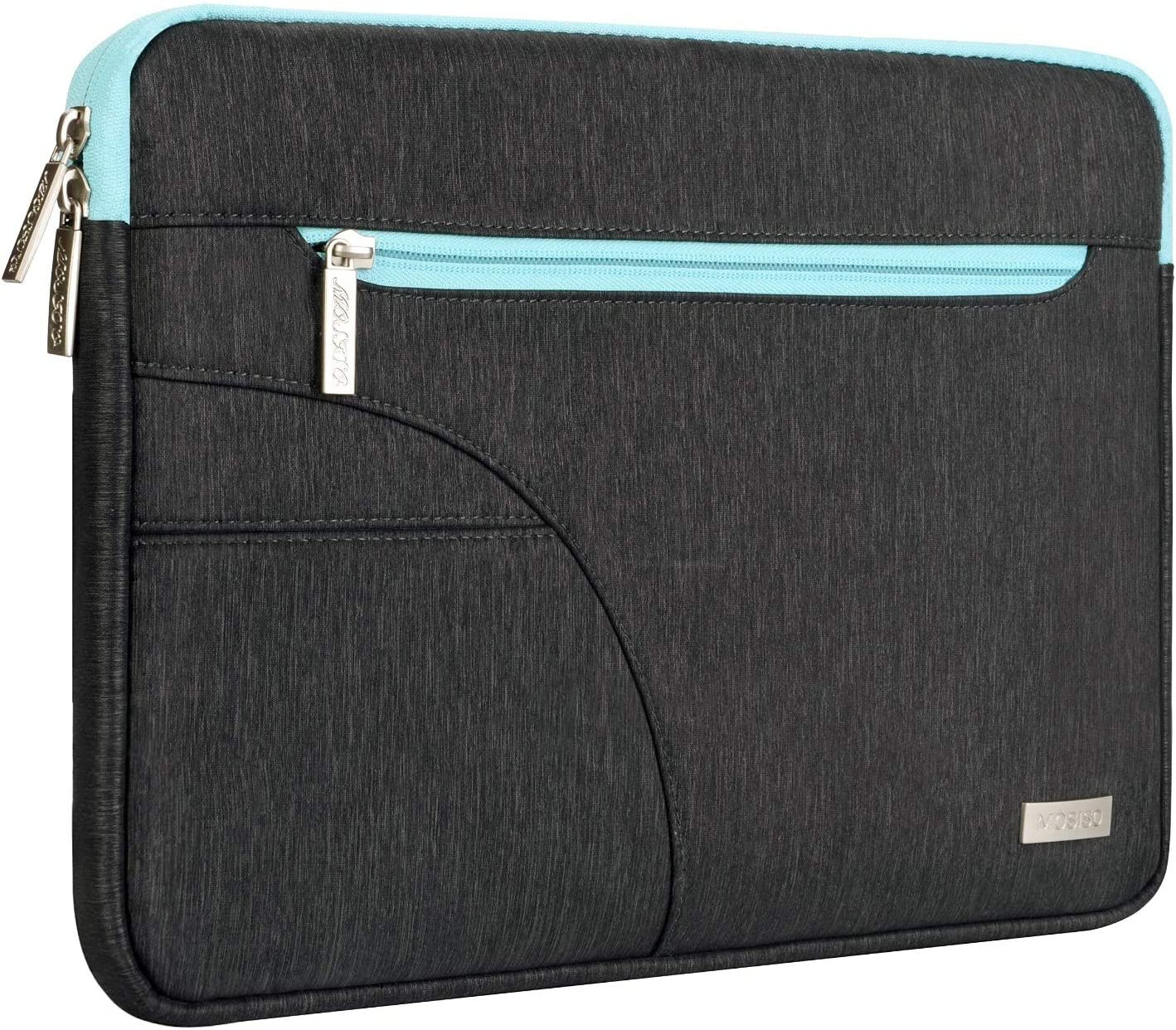 MOSISO Laptop Sleeve Compatible with 13-13.3 inch MacBook Pro, MacBook Air, Ultrabook Netbook, Polyester Carrying Case Bag with Accessory Pocket, Black & Hot Blue