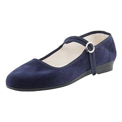 c12c4bc27ef3aa Japanwelt Original China-Samt-Schuhe Dunkelblau für Damen