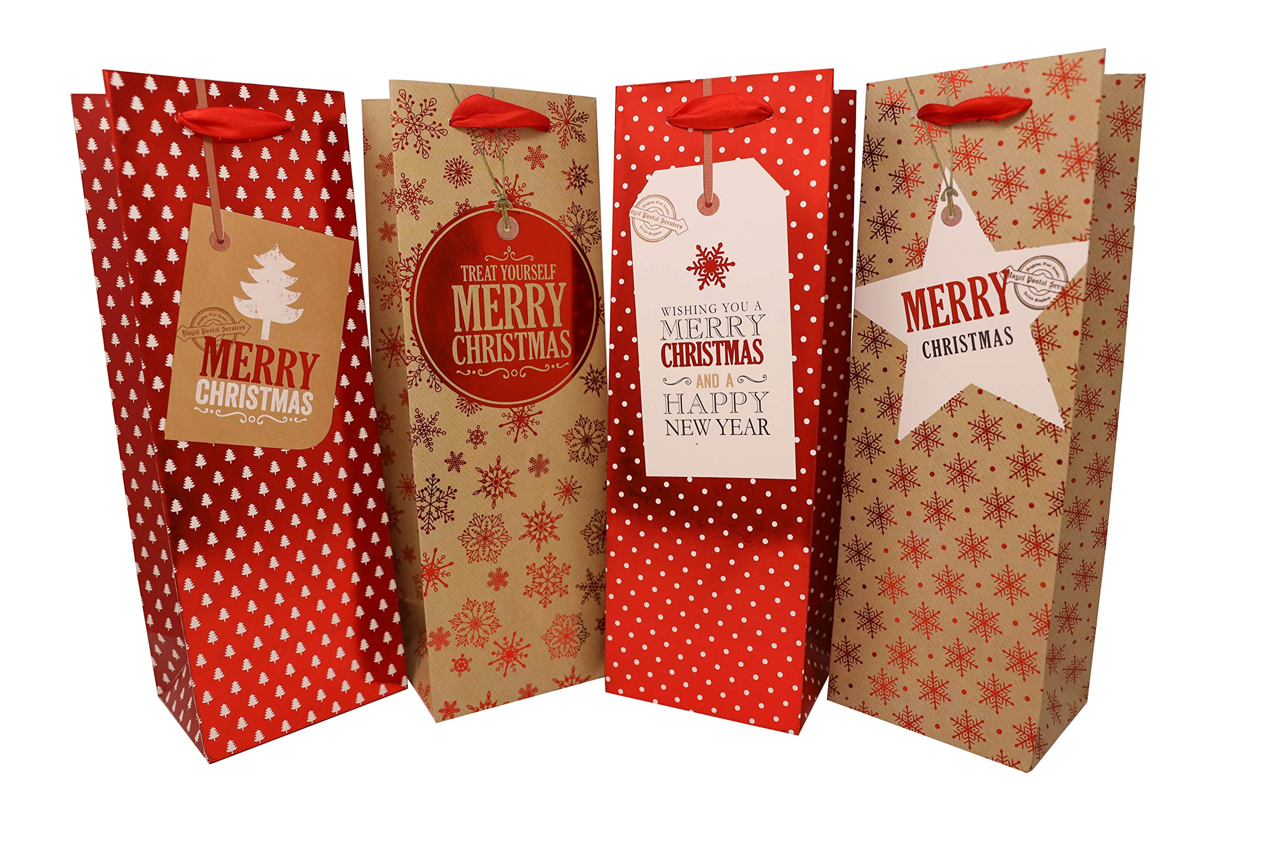 Amazon.com: Christmas Wine Bags with Red, Green and Gold hot Stamp ...
