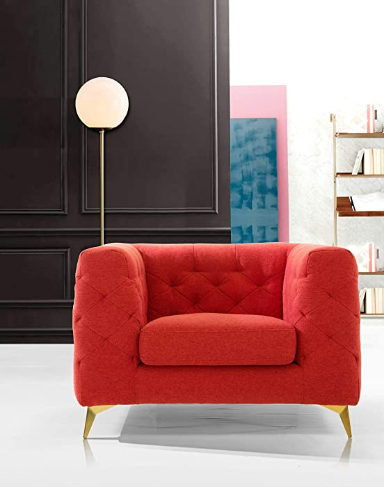 Iconic Home Soho Accent Club Chair Linen Textured Upholstery Plush Tufted Shelter Arm Solid Gold Tone Metal Legs Modern Transitional, RED