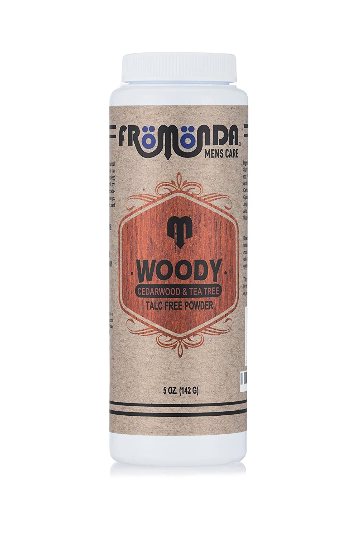 Fromonda Woody Talc-Free Men's Body Powder, 100% Natural Ingredients, Cedarwood & Tea Tree Scent, 5 oz 101-865