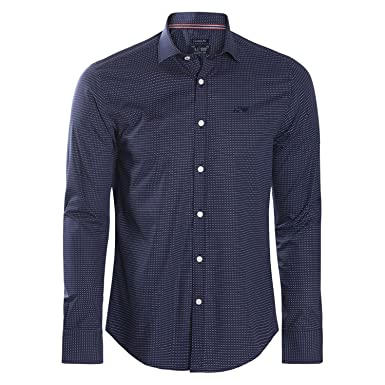 a323a7d64f8 Armani Jeans - Chemise custom fit imprimé pois bleu marine - S ...