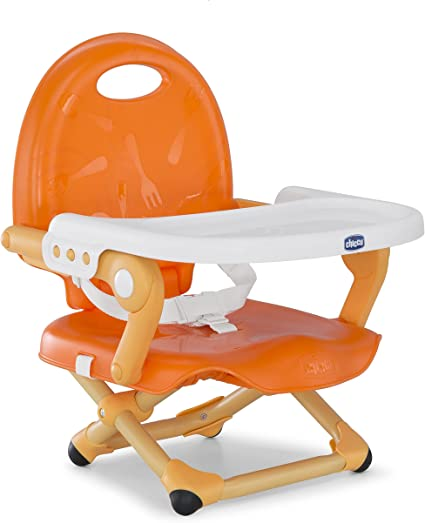 Chicco Pocket Snack Booster Seat Mandarino Orange, Height Adjustable, Lightweight and Compactable, Travel Friendly
