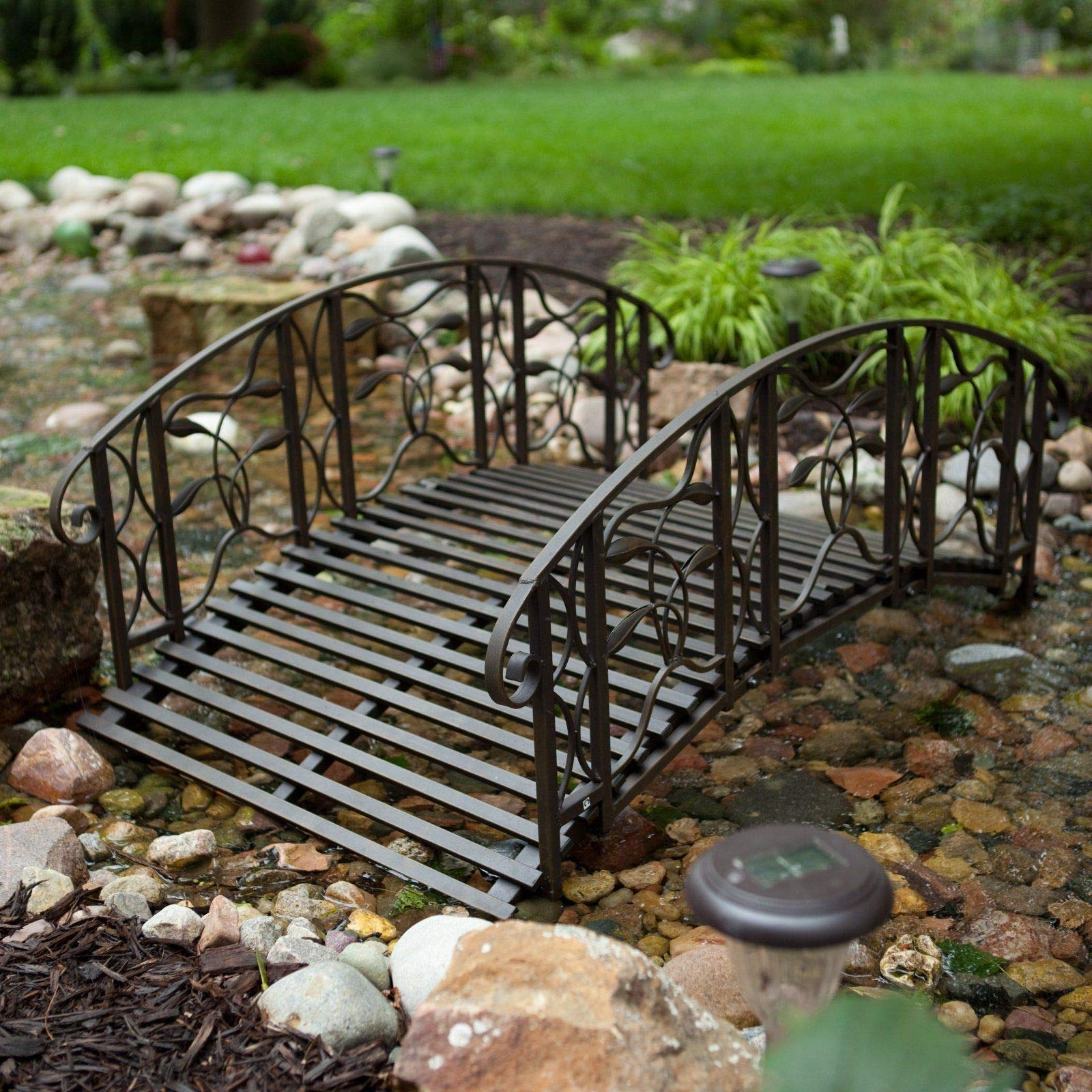 Home Improvements Weathered Black Finish Metal 4 Foot Garden Bridge Outdoor Yard Lawn Landscaping by Home Improvements (Image #1)