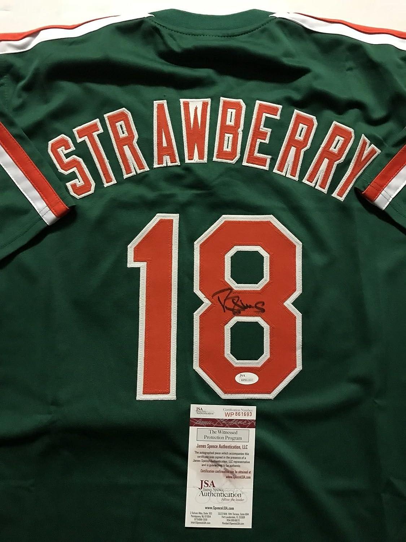 Autographed/Signed Darryl Strawberry New York Green Baseball Jersey JSA COA