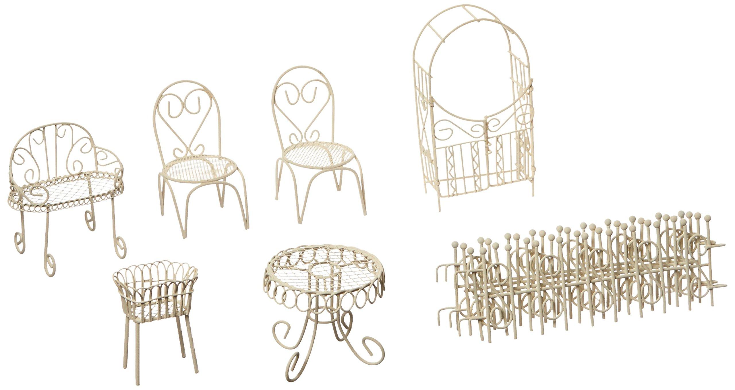 Hi-Line Gift Ltd Fairy Garden 10 Piece Patio Furniture Set, Antique White
