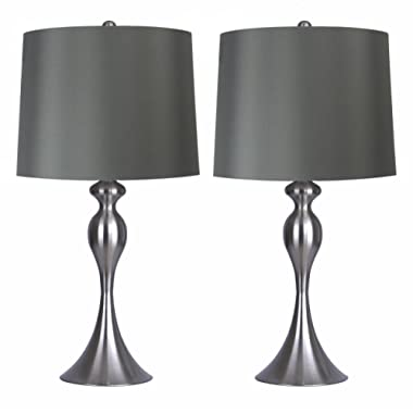 Grandview Gallery Table Lamps with Dark Grey Lamp Shade, Set of 2 - Brushed Nickel Body with Grey Linen Shade, 26.5  Table Lamps for Bedrooms, Dressers, Buffets and More - ST90215FQ-(W)