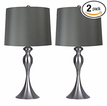 Grandview Gallery Table Lamps With Dark Grey Lamp Shade Set Of 2