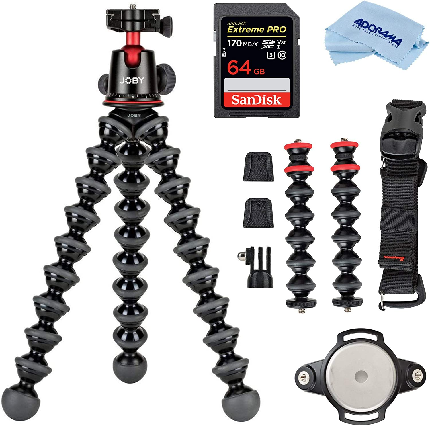 Cloth Rig Upgrade up to 11lbs//5kg Joby GorillaPod 5K Kit Professional Tripod Stand with Ball Head for DSLR or Mirrorless Cameras with Lens Black//Charcoal Bundle with 64GB SD Card