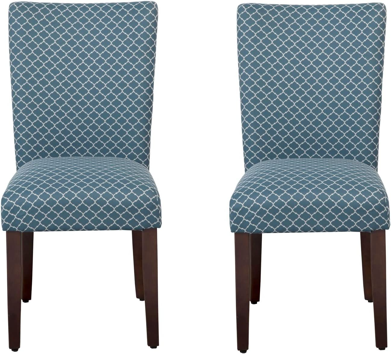 HomePop Parsons Classic Upholstered Accent Dining Chair, Set of 2, Blue and Cream