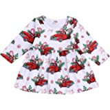 Kids Toddler Baby Girls Christmas Dresses Outfits Long Sleeve Cars Print Party Dress Fall Clothes Set