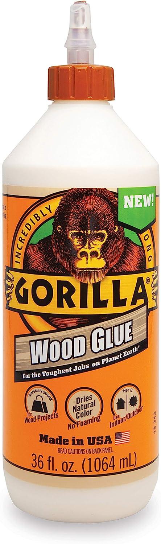 Gorilla Wood Glue, 36 ounce Bottle, Natural Wood Color, (Pack of 1)