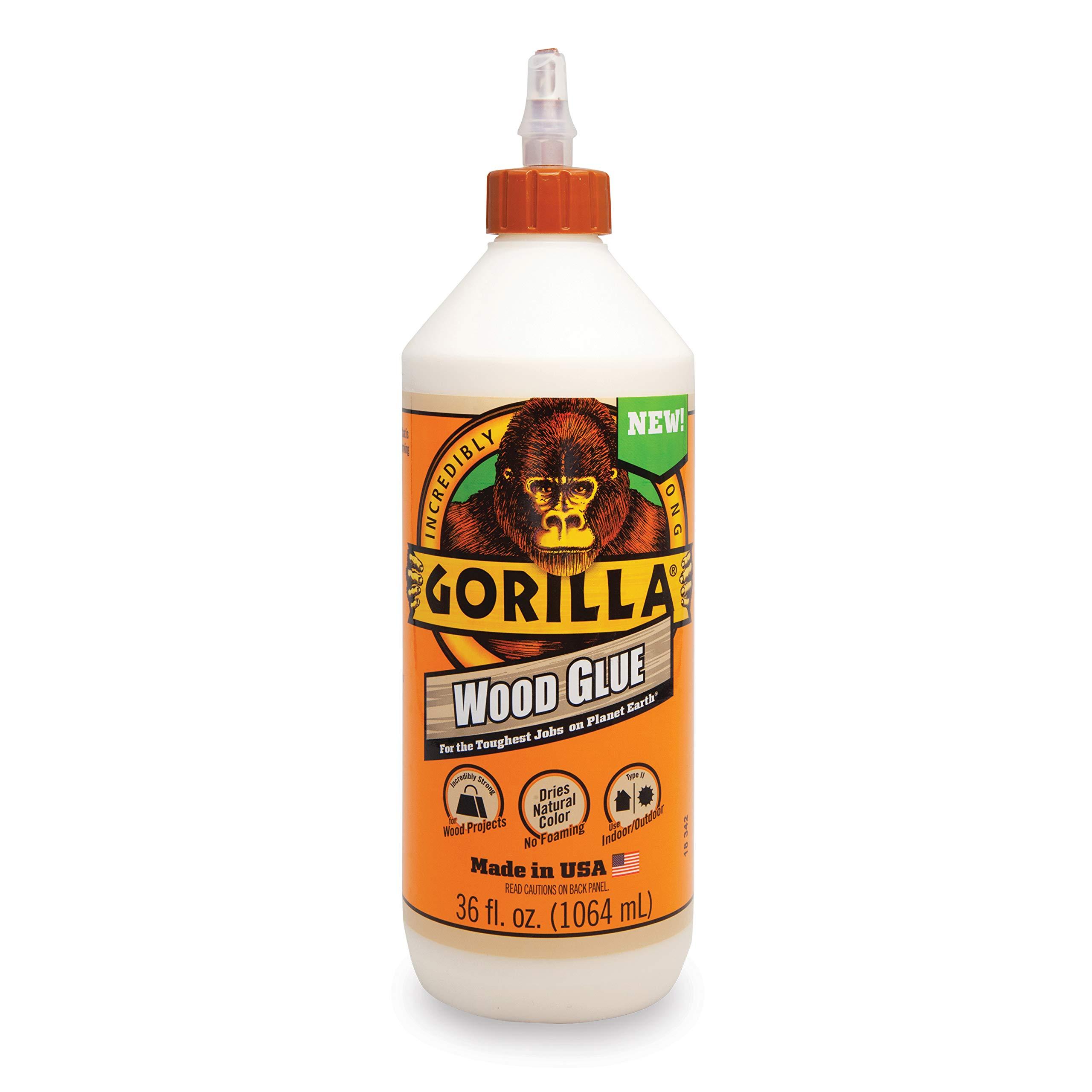 Gorilla 6206005 Wood Glue, 36 ounce Bottle, Natural Wood Color, (Pack of 1)