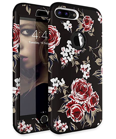 best loved f3393 8f7f6 iPhone 7 Plus Case iPhone 8 Plus Case ADCOOG[Flowers] Three Layers Heavy  Duty Shockproof Soft Silicone Anti-Scratch Anti-Fingerprint Hard PC Hybrid  ...