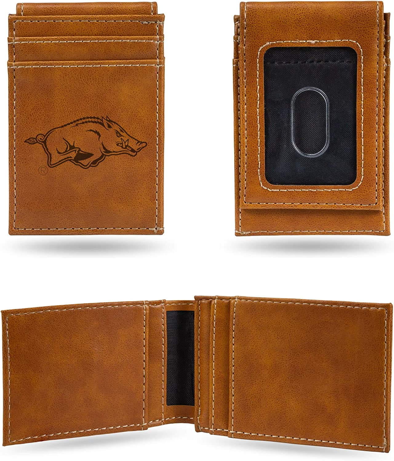Rico Industries NCAA Laser Engraved Front Pocket Wallet, Brown