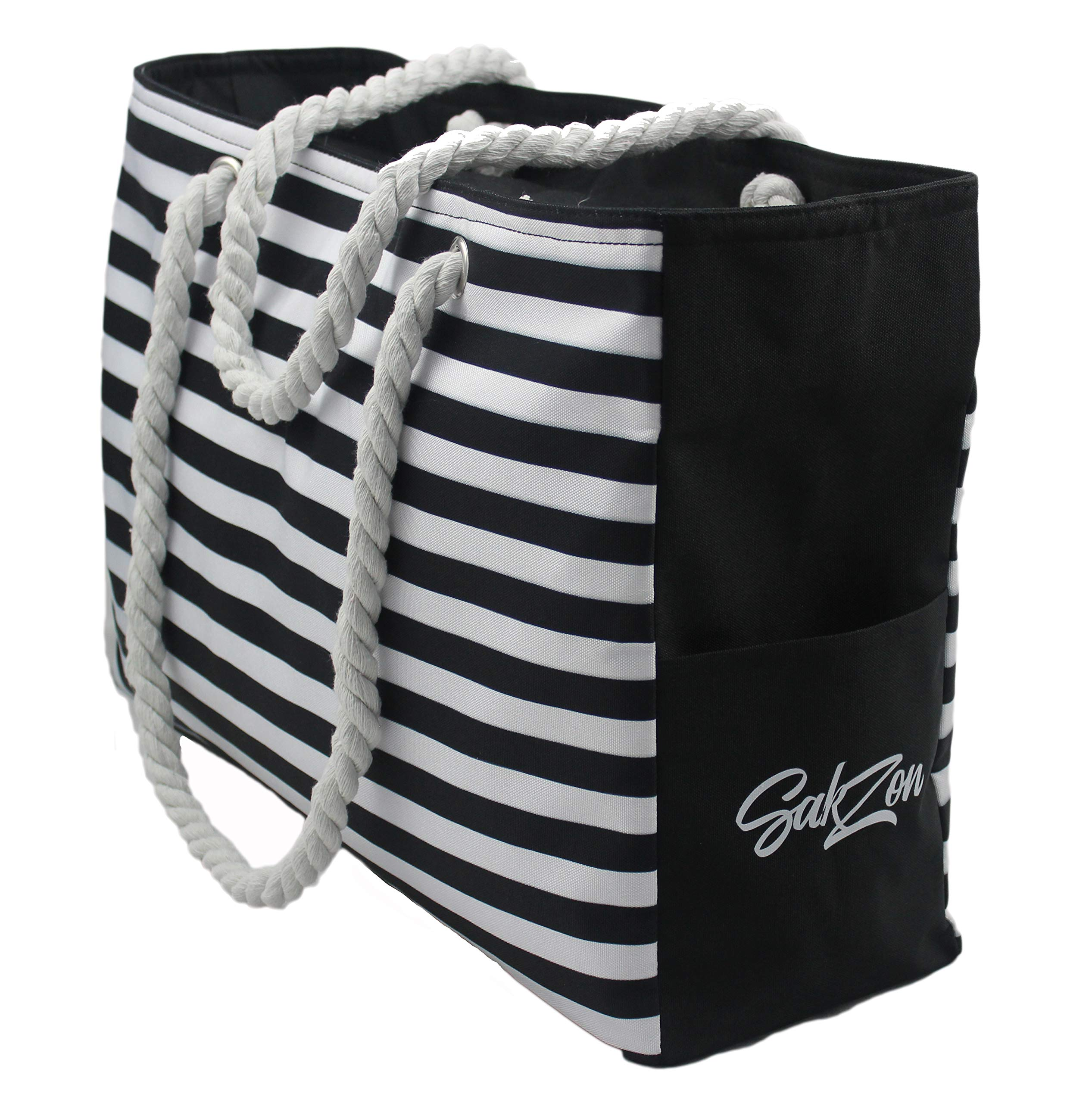 Beach Bag - Waterproof, large (L 18.5'' x H 12.5'' x W 5.8''), with zippered top, cotton rope handles, bottle holders, internal & external pockets (black)