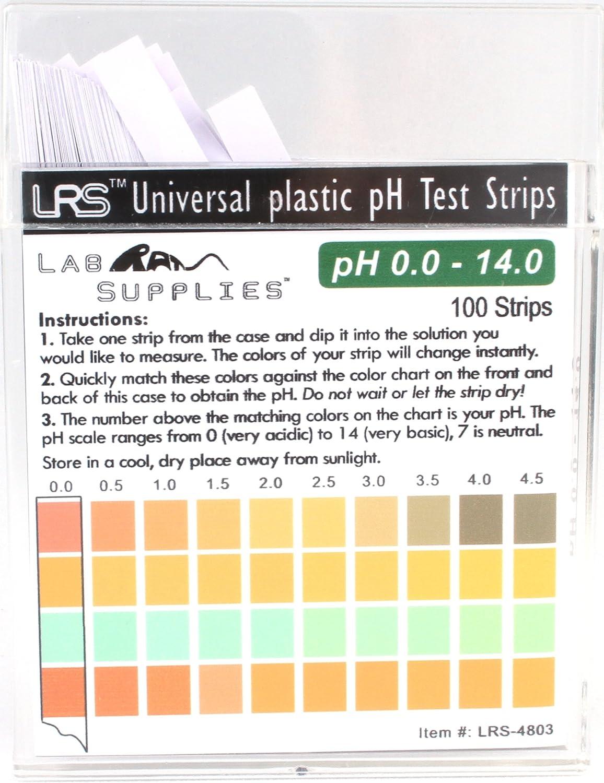 Plastic pH Test Strips, Universal Application (pH 0.0-14.0, 0.5 pH Intervals), 100 Strips
