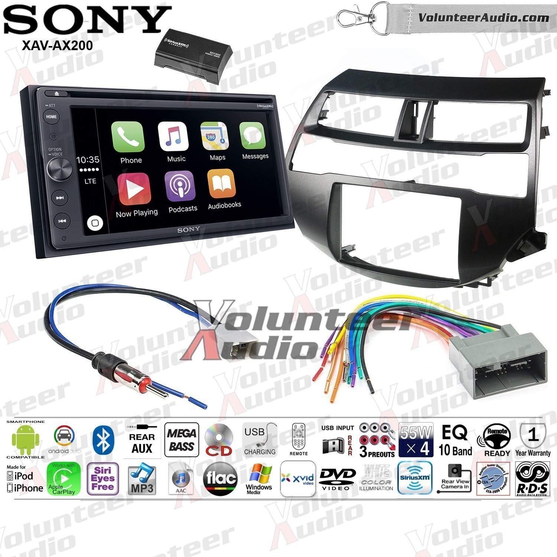 Sony XAV-AX200SXM Double Din Radio Install Kit With Apple CarPlay, Android Auto, Sirius XM Fits 2008-2012 Honda Accord (Dark Atlas Grey) 81Fif22BfxuLSL1500_
