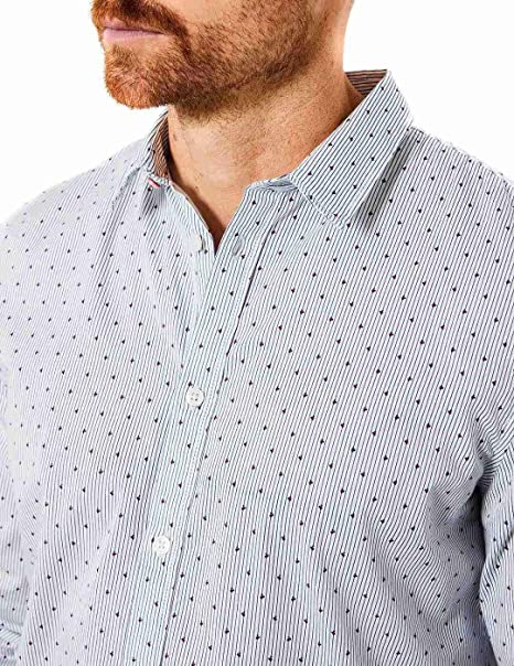 Petrol Camisa M/L Chalk White Puntos: Amazon.es: Ropa