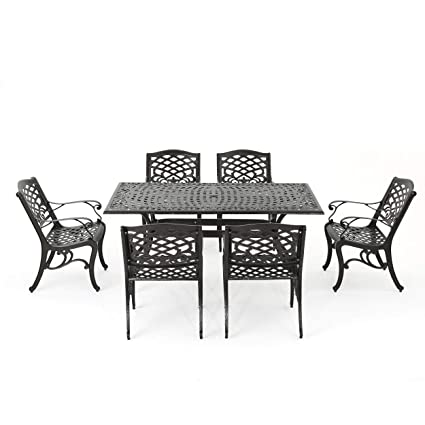 Admirable Christopher Knight Home 296592 Odena Outdoor Cast Aluminum Dining Set 7 Piece Rectangular Table And Patio Chairs Garden Furniture Set Download Free Architecture Designs Scobabritishbridgeorg