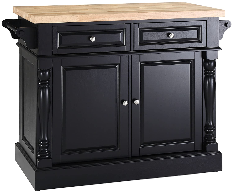 Crosley Furniture Kitchen Island with Butcher Block Top - Black