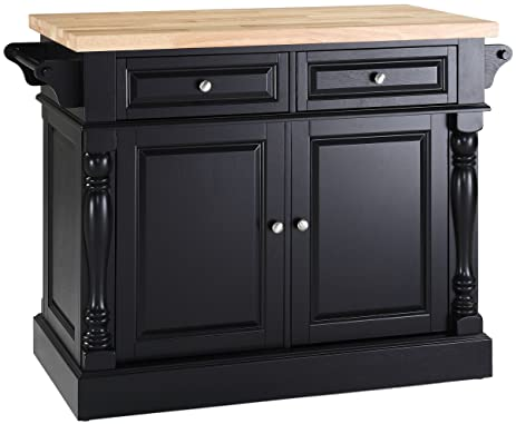 Crosley Furniture Kitchen Island With Butcher Block Top   Black