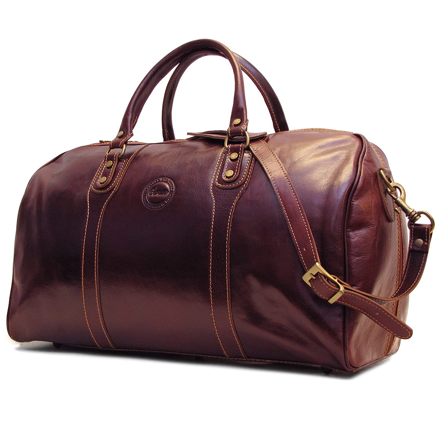 Amazon.com | Cenzo Duffle Vecchio Brown Italian Leather Weekender ...