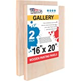 "U.S. Art Supply 16"" x 20"" Birch Wood Paint Pouring Panel Boards, Gallery 1-1/2"" Deep Cradle (Pack of 2) - Artist Depth Wooden"